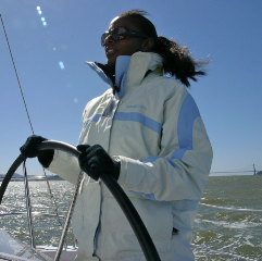 Tni Newhoff at the helm in San Francisco Bay